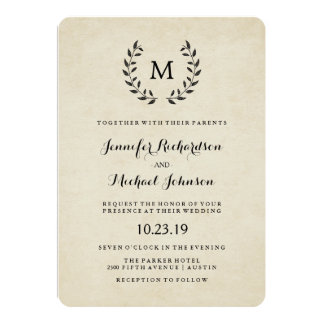Vintage French Style Wreath and Monogram Wedding Card