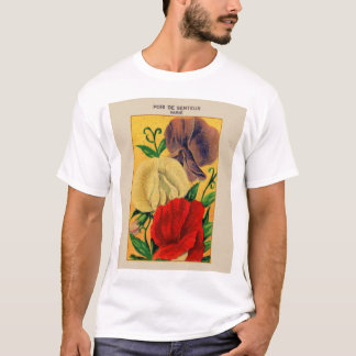 Vintage French Sweet Pea Flower Seed Package T-Shirt