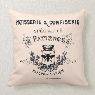 Vintage French Sweet Shop Ad Throw Pillow