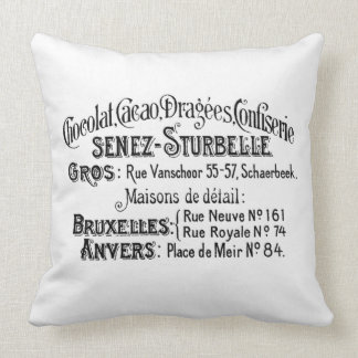 Vintage French Sweet Store Ad Throw Pillow