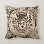 Vintage French Tax Stamp de Paris Throw Pillow