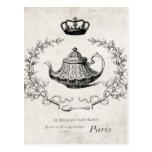 Vintage French teapot postcard