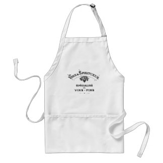 Vintage french text wines and spirits advert adult apron