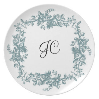 Vintage French Toile Blue Floral-Gift Plate