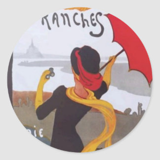 Vintage French Travel Ad 1910 Classic Round Sticker