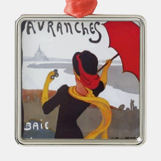 Vintage French Travel Ad 1910 Metal Ornament