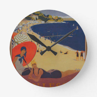 Vintage French Travel Advertisement Round Clock