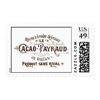 Vintage French Typographic Chocolate Label Art Postage