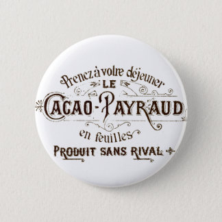 Vintage French Typographic Chocolate Label Button