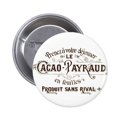 Vintage French Typographic Chocolate Label Buttons