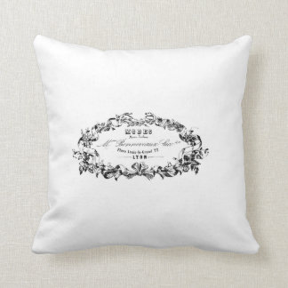 vintage french typography advert cushion throw pillow