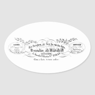 vintage french typography advertisement oval sticker