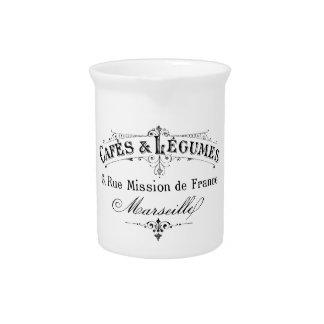 vintage french typography cafes et legumes drink pitcher