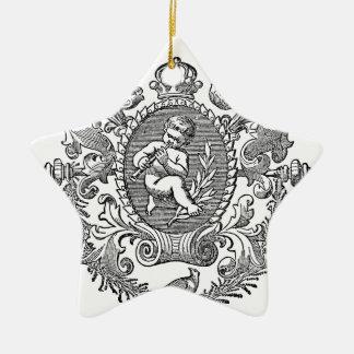 Vintage french typography cherub design ceramic ornament