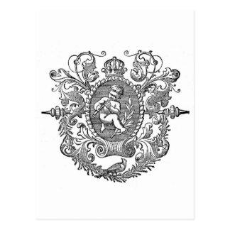 Vintage french typography cherub design postcard