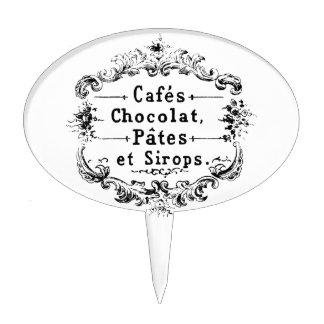 Vintage french  typography chocolate design cake topper