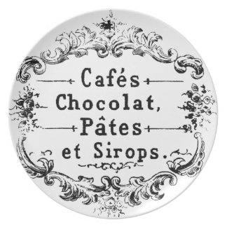 Vintage french  typography chocolate design melamine plate