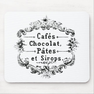 Vintage french  typography chocolate design mouse mat
