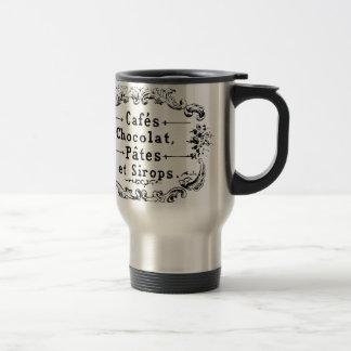 Vintage french  typography chocolate design 15 oz stainless steel travel mug