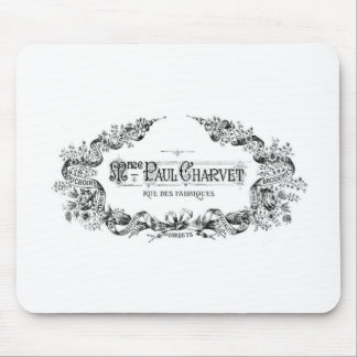 Vintage french typography corset advertisement mouse mats