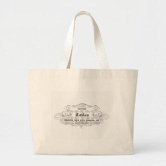vintage french typography cotton toiles jumbo tote bag