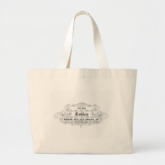 vintage french typography cotton toiles large tote bag