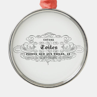 vintage french typography cotton toiles metal ornament