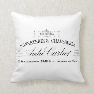 Vintage French typography cushion