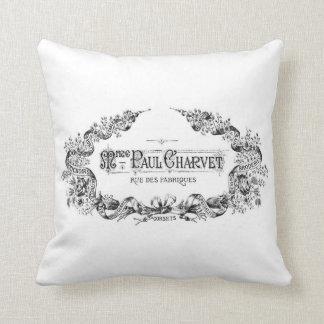 Vintage french typography throw cushion throw pillow