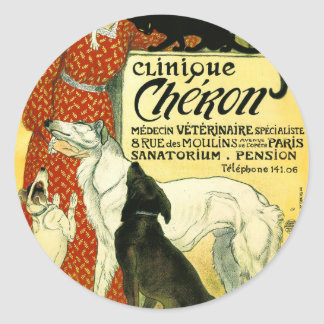 Vintage French veterinary Cat dog Clinique Chéron Classic Round Sticker
