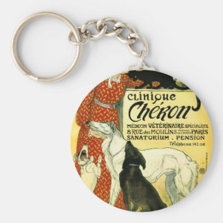 Vintage French veterinary Cat dog Clinique Chéron Keychains