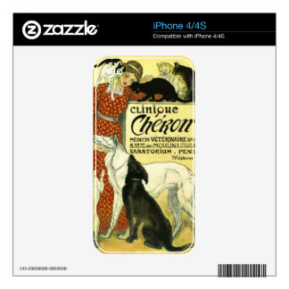 Vintage French veterinary Cat dog Clinique Chéron Skin For iPhone 4S