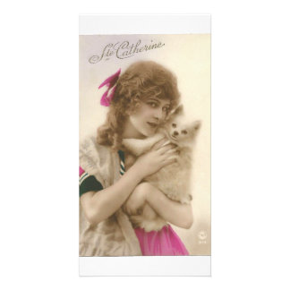 Vintage French Victorian Woman & White Dog Card