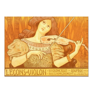 Vintage French Violin Lessons Ad Poster Card