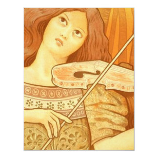 Vintage French | Violin Lessons Ad Poster Card