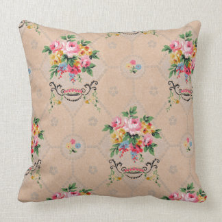 Vintage French Wallpaper Floral Pattern Cushion