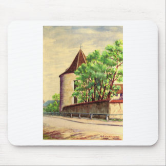 VIntage French watercolour, A corner of a vinyard Mouse Pads