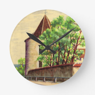 VIntage French watercolour, A corner of a vinyard Round Clock