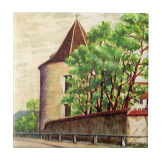 VIntage French watercolour, A corner of a vinyard Tile