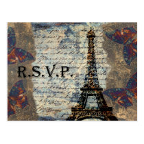 vintage french Wedding rsvp card