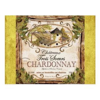 Vintage French Wine Label Postcard