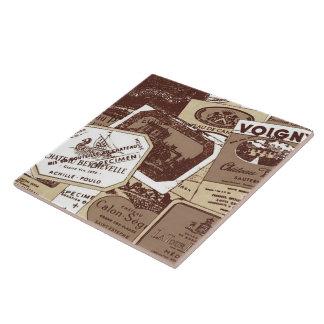 Vintage French Wine Labels Wallpaper Large Square Tile