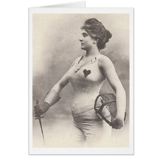 Vintage French Woman Fencer Note Card! Greeting Card