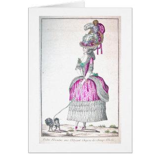 Vintage French Woman Walking Dog Card