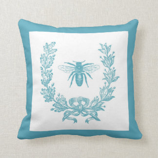 """Vintage French Wreath w/ Bee 20 x 20"""" Pillow Teal"""