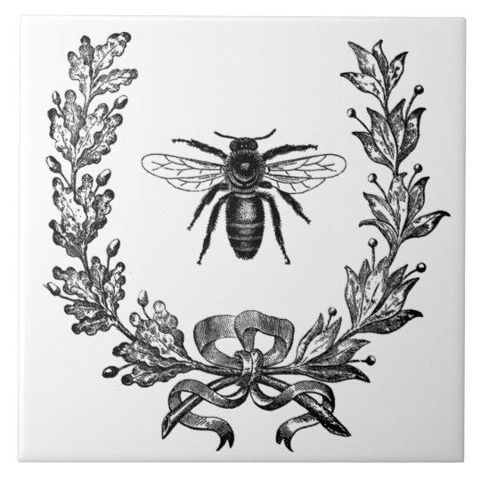 Vintage French Wreath W/ Bee Ceramic Tile Trivet