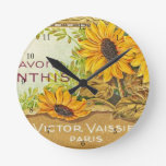 Vintage French Yellow Sunflowers Round Clock