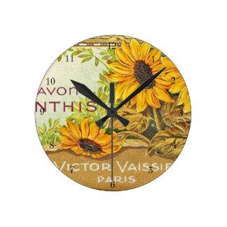 Vintage French Yellow Sunflowers Round Clocks