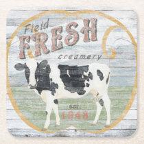 Vintage Fresh Creamery Cow Square Paper Coaster