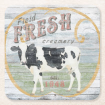 Vintage Fresh Creamery Cow Square Paper Coaster